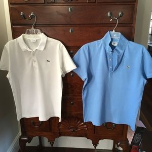 Pair of LACOSTE Slim Fit Pique Polos sz 5 (Large)
